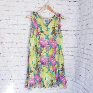 Glam & Fame Shift Dress Lime Green Floral Midi